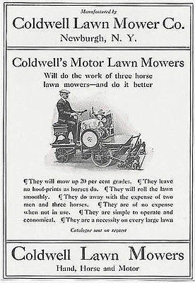 Coldwell Lawn Mower Newburgh NY 1911 Ad No expense of 3 Horses  and 2 Men