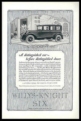 Willys Knight Six Car Automobile 1926 Print Ad Flappers Chauffer - Paperink Graphics