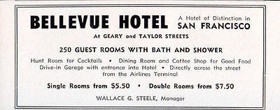 Bellevue Hotel San Francisco California 250 Rooms w Bath 1956 Travel Tourism AD - Paperink Graphics