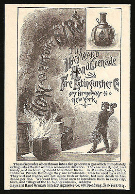 Fire Extinguisher AD 1885 Hayward Hand Grenade Fire Firefighting Fireman