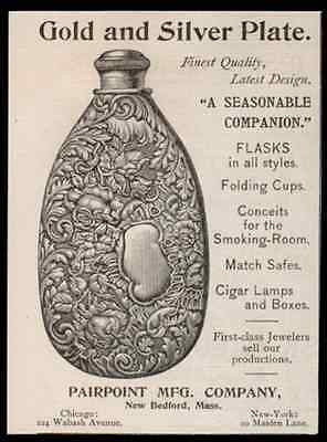 1893 Pairpoint Art Nouveau Flask AD Gold Silver Plate Pairpoint New Bedford MA - Paperink Graphics