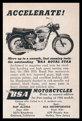 Motorcycle BSA 1964 AD Royal Star Heavy Chrome Black Red Enamel Photo AD