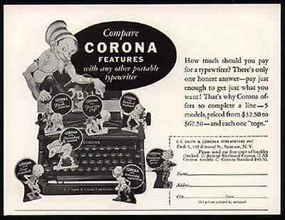 Corona Portable Typewriter Leprechauns At Work 1936 Small AD