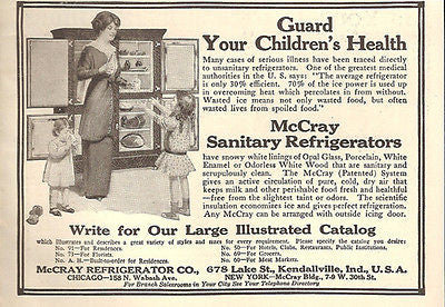 Ice Box McCray Sanitary Refrigerators 1914 Mother Pours Girls Ice Cold Milk AD