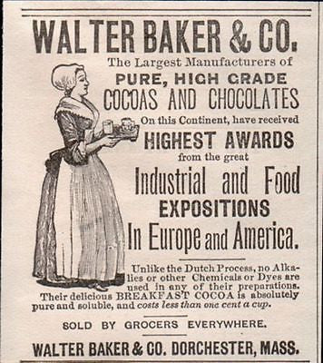 Chocolate Girl Exposition Awards Walter Baker 1895 AD Dorchester MA - Paperink Graphics