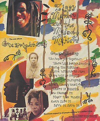 Ziggy Marley and Melody Makers 1989 Ad One Bright Day Music Advertising - Paperink Graphics