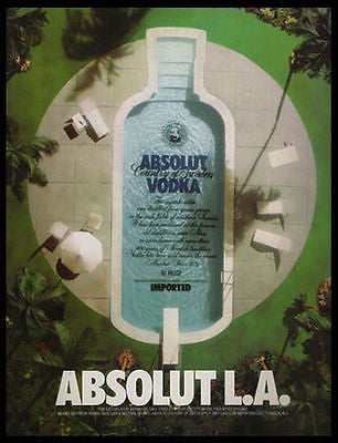 Absolut L.A. Los Angeles Pool 1994 Photo Ad Absolut Vodka