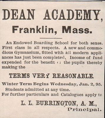 Boarding School Dean Academy Franklin Massachusetts AD 1895