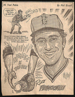 Rico Petrocelli Baseball Sports Cartoon Caricature Newspaper Clipping