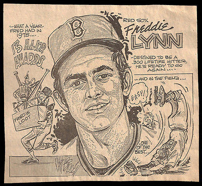 Red Sox Freddie Lynn 13 Awards Sports Cartoon Newspaper Clipping