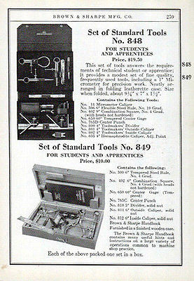 Brown & Sharpe Advertisement Standard Tools Set No. 848 and 849 Ad 1941