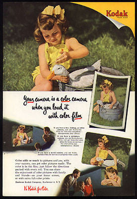 Duck Gets a Bath Yellow Sunsuit Child 1951 Kodak Color Photo Ad