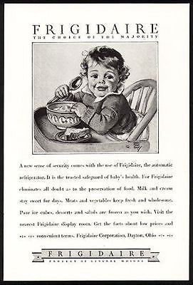 Maud Tansey Fangel Artist Baby Toddler 1928 Frigidaire Automatic Antique AD