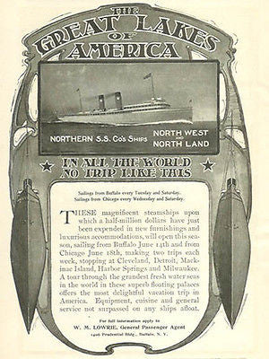 Great Lakes 1902 Northern S.S. Steamship Antique Ship Nautical Ad