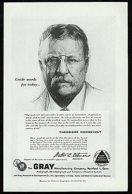 Theodore Roosevelt 1956 Gray Mfg Research Hartford CT Ad