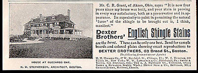 Dexter English Shingle Stains 1898 Architect Photo AD - Paperink Graphics