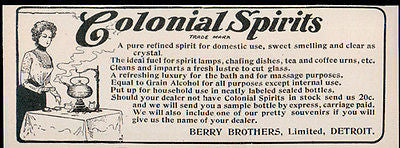 Colonial Spirits 1902 Ad Teapot Berry Brothers Detroit