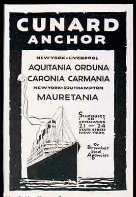 CUNARD Ocean Liner Antique AD NY to England 1919 Ship Travel Transportation