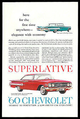 Chevrolet Impala Sport Sedan and Sport Coupe 1960 Photo Ad