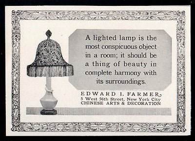 Art Nouveau Fringe Shade and Lamp 1927 NYC Lighting AD - Paperink Graphics