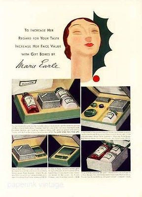 Deco 1932 Marie Earle Mannequin Head Art Deco Cosmetics Packaging Accessory AD - Paperink Graphics