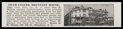 High View 1915 Sullivan County Shawangunk Mt House Panoramic NY Hotel Photo AD - Paperink Graphics