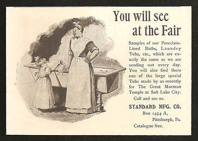 Porcelain Laundry Tubs 1893 Print AD Housekeeping Standard Mfg Pittsburgh PA
