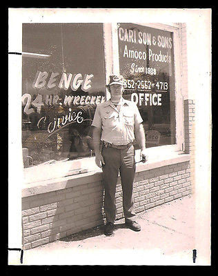Amoco Products Benge Wrecker Towing Service Storefront Vintage Polaroid ? Photo - Paperink Graphics