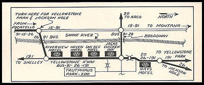 Motel Map Ad Route 191 Idaho to Montana and Wyoming 1964 Roadside  Ad Travel
