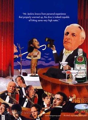 Opera Diva Graphic Arts 1997 Tanqueray English Gin Promo Ad