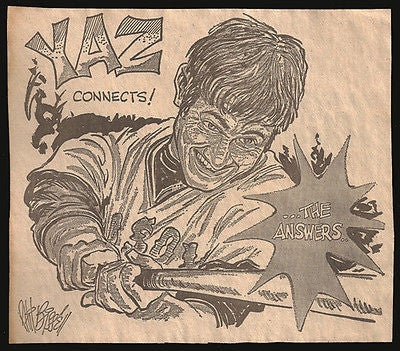 Yaz Carl Yastrzemski Red Sox Sports Cartoon Newspaper Clipping