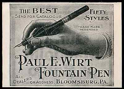 Bulb Fountain Pen Unique Style Paul E Wirt Fountain Pens Bloomsburg PA 1902 AD