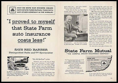 Red Barber Baseball Sportscaster State Farm 1959 Two page Insurance AD