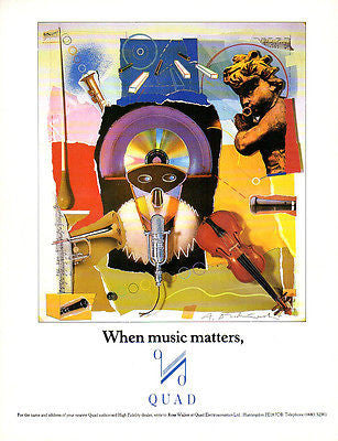 Music Advertising Quad Electroacoustics AD 1990 AUDIO Musical Instruments AD