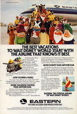 Disney World Eastern Airlines 1979 Mickey Dumbo Animation Graphic Arts Ad
