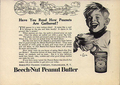 Beech-Nut Peanut Butter Boy 1917 Happy Boy Food AD Beech-Nut Canajoharie NY - Paperink Graphics