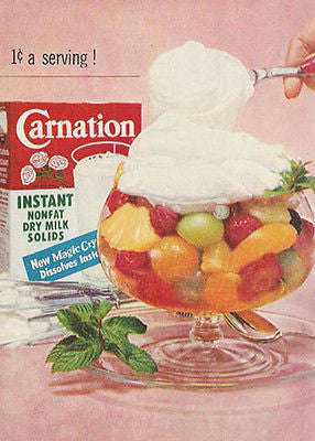 Carnation Milk 1959 Original Dairy Ad New Magic Fruit Bowl Dessert