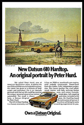 Datsun Advertisement Datsun 610 Hardtop 1973 Peter Hurd Artwork Illustrated Ad - Paperink Graphics