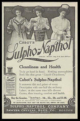 Cabots Sulpho-Napthol Liquid Cleaner 1909 Ad Nurse Housewives - Paperink Graphics