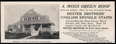 Dexter Bros. Boston Prosper L. Senat Architect Roofing Ad 1896 Moss Green Roof - Paperink Graphics