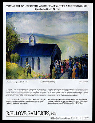 Country Wedding Gallery Art AD 1994 Alexander Z Kruse Artist Artwork Advertising - Paperink Graphics