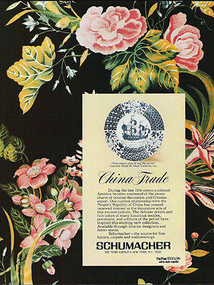 1979 Schumacher Textiles Ad China Trade Textiles Blue White Plate - Paperink Graphics