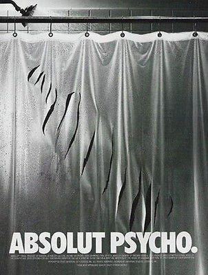 Absolut Psycho Slashed Shower Curtain Hitchcock Movie 1997 Ad Absolut Vodka - Paperink Graphics