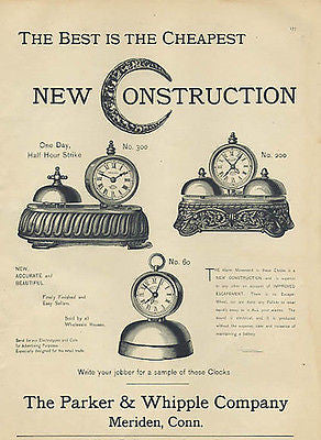 Antique Clocks AD 1892 Parker Whipple Manufacturing Co. Meriden CT Timekeeping - Paperink Graphics