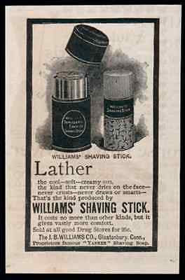 Mens Shaving Lather Williams Shaving Stick 1893 Antique Shave Ad Glastonbury CT