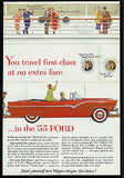 1955 Ford Convertible Trigger-Torque Red Auto AD Travel Ocean Liner - Paperink Graphics