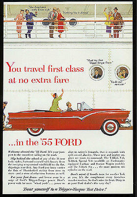 1955 Ford Convertible Trigger-Torque Red Auto AD Travel Ocean Liner