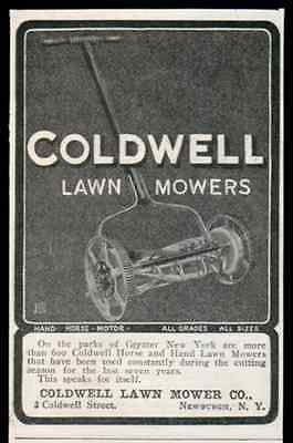 Coldwell Lawn Mower Hand Horse all Grades all Sizes 1905 Print AD Newburgh NY
