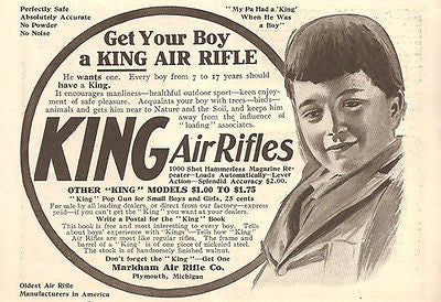 King Air Rifle Lever Repeater Encourages Manliness 1908 Markham Air Rifle MI AD - Paperink Graphics