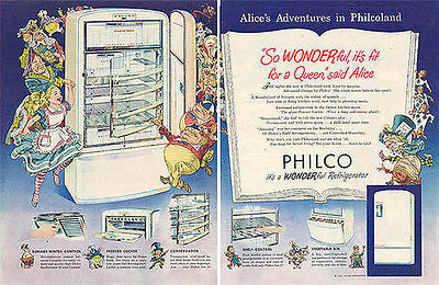 Alice in Wonderland 1948 Philco Fridge Home Appliances 2 pg AD